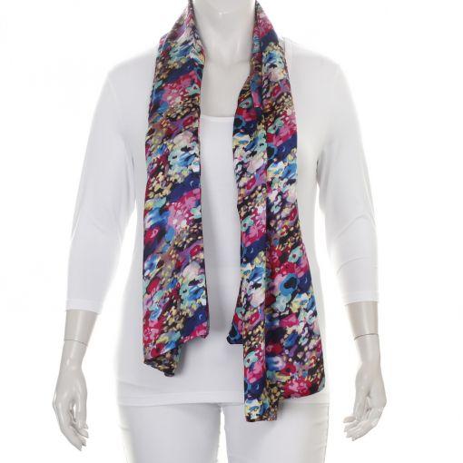 Dubbele zijden shawl met blauwe en roze tinten