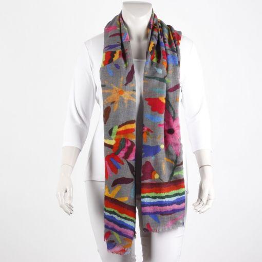 Wollen shawl kleurrijke print