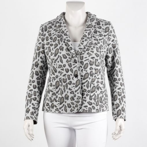 White Label blazer grijs bruine panterprint