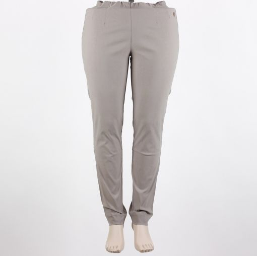Grijs taupe aansluitende stretch broek smalle pijp model Sanna merk Laurie