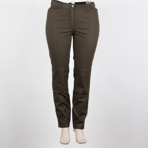 Samoon groene stretch broek coating model Betty