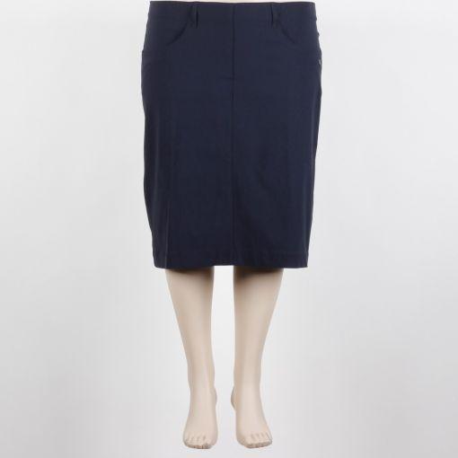 Laurie donkerblauwe stretch rok met zakken recht model