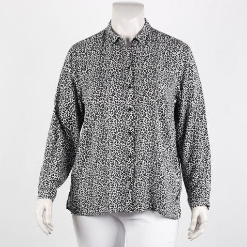 Frapp blouse zwart ecru panterprint