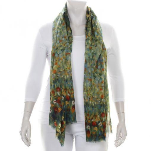 Wollen shawl groen met kleurrijke accenten