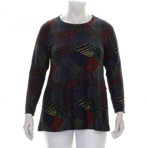 Aíno shirt zwart met kleurrijke print