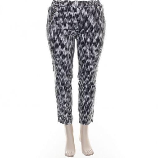 Robell blauwe broek met witte stippenprint model Nena 09