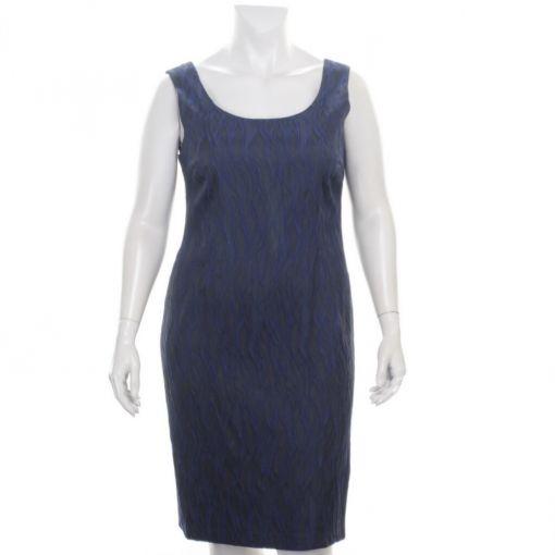 Kirsten Krog jurk donkerblauw met blauwe reliefprint