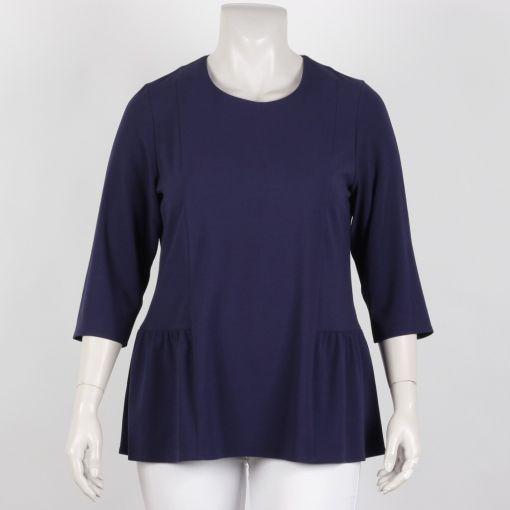 Jorli blouse effen blauw driekwart mouw