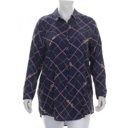 Request blauwe blouse met nautische print