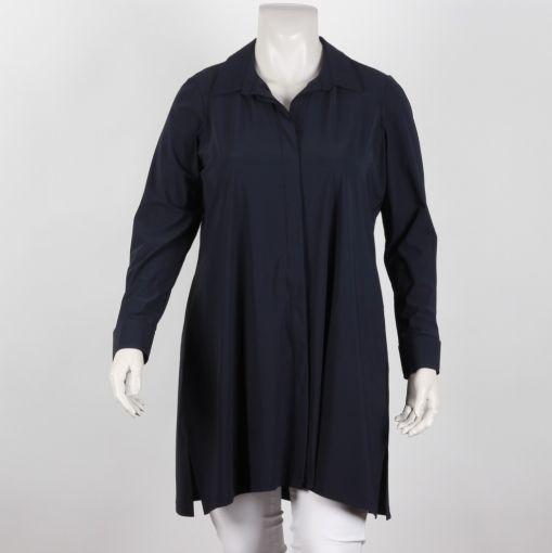 Plus Basics blauwe lange A-lijn blouse