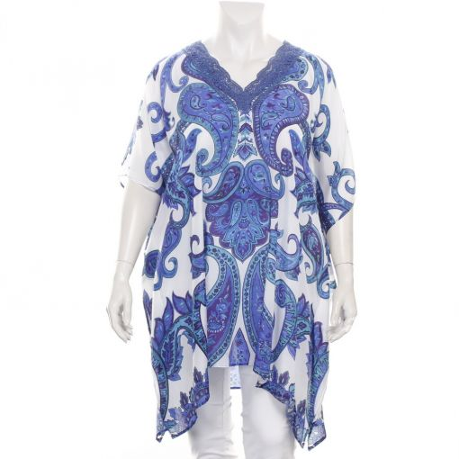 Dresskini kaftan wit met paars blauw groene print