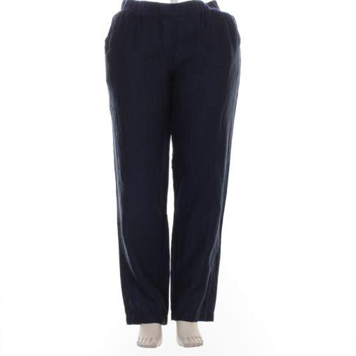 Doris Streich donkerblauwe linnen broek