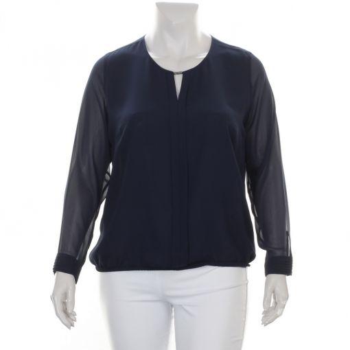Sommermann blauwe voile blouse met elastieken rand
