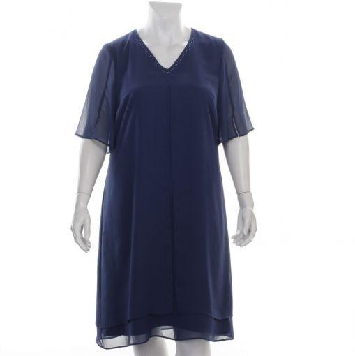 Godske donkerblauwe jurk met sierlijke halslijn