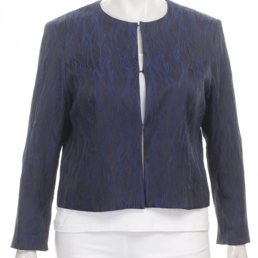 Kirsten Krog donkerblauwe blazer met blauwe reliefprint
