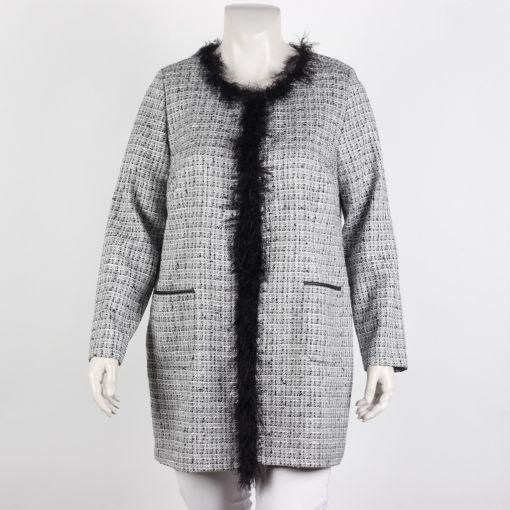 Kirsten Krog Design blazer zwart grijs wit gemeleerd met zilvergaren