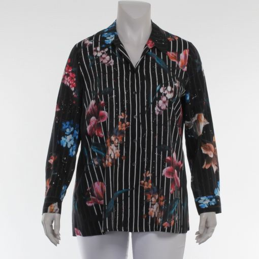 Sempre Piu zwart wit gestreepte blouse met kleurrijke bloemen
