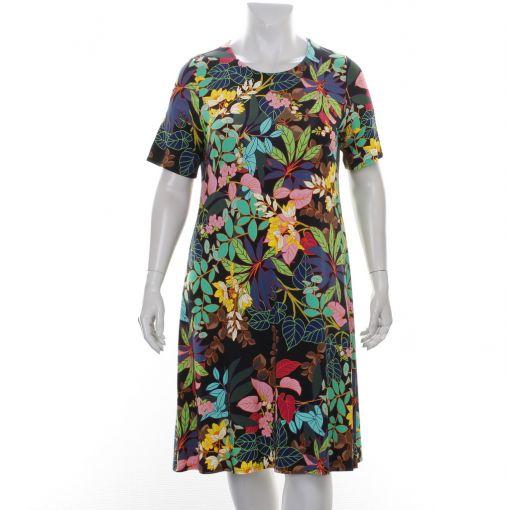Tia zwarte jurk met fleurige bloemen en bladeren