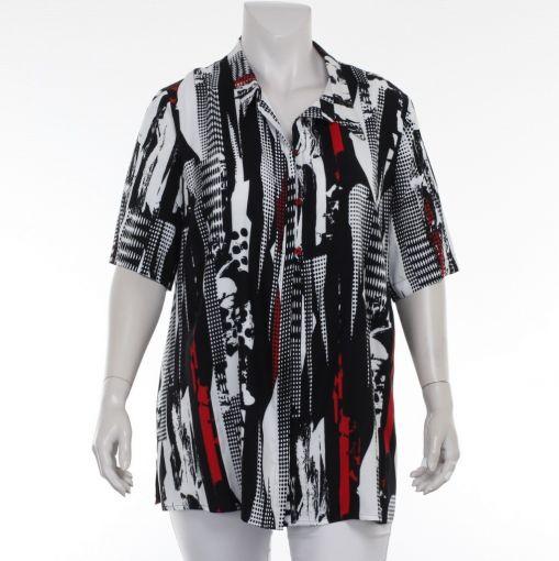 Sempre Piu zwart wit blouse met rode print