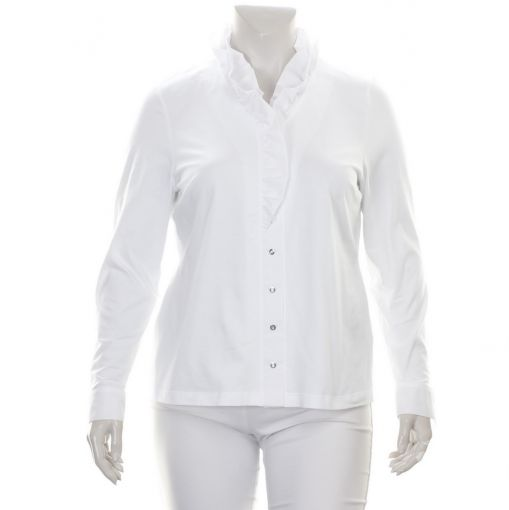 Erfo witte blouse met roezelkraag