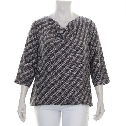 Samoon geruite blouse met sierlijke hals