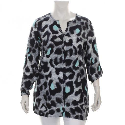 Doris Streich blouse zwart mint grijze panterprint