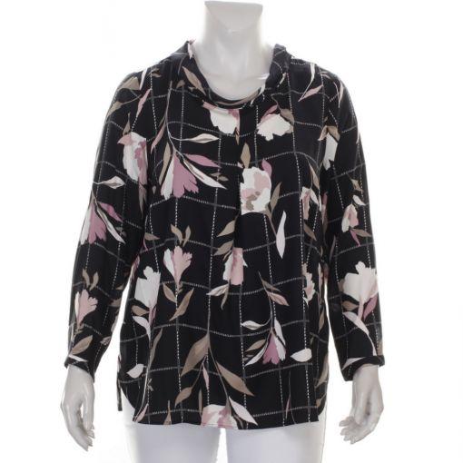 Via Appia zwart wit geruite blouse met bloemen