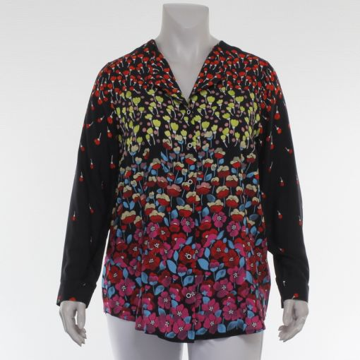 Chalou blouse zwart met kleurrijke bloemenprint