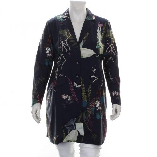 Plus Basics blauwe blazer met botanische print