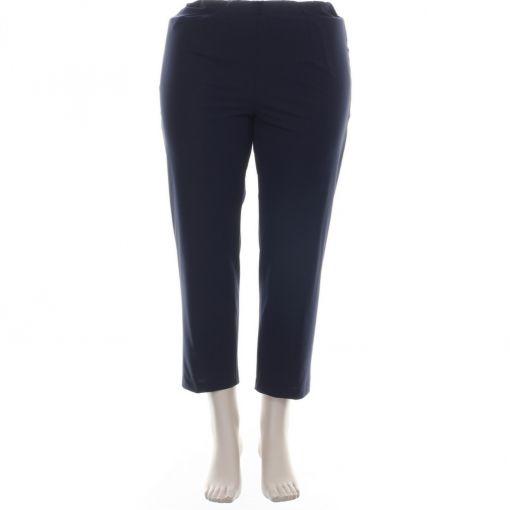 KJ Brand blauwe enkellange travelstof broek model Susie