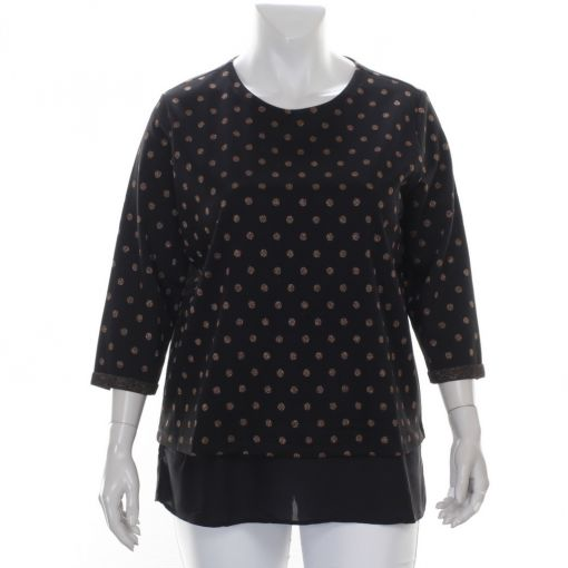 Via Appia shirt zwart met stippen