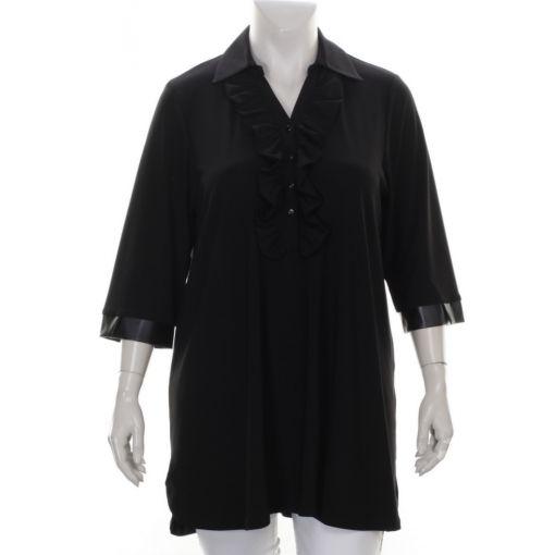 Chris Size zwarte blouse met roezel