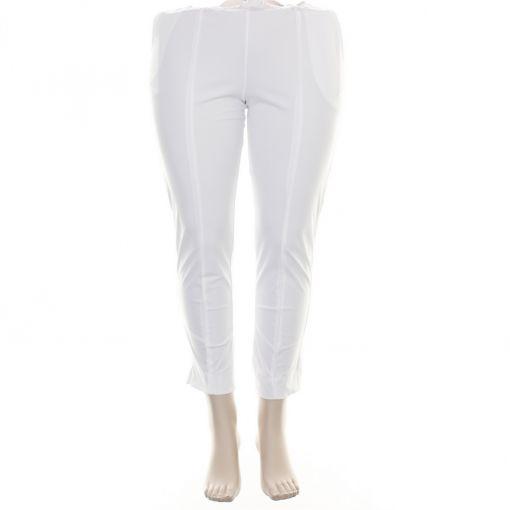 Plus Basics witte enkkellange broek met opgestikte naad