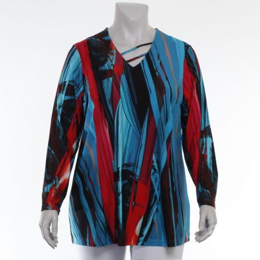 Sempre- Piu shirt met blauw roze print
