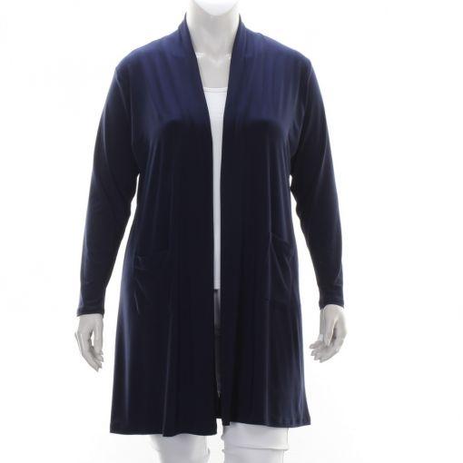 Only-M blauwe openvallend vest met zakjes