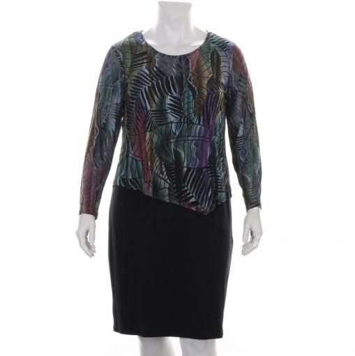 Doris Streich zwarte jurk met bovenaan gekleurde bladprint