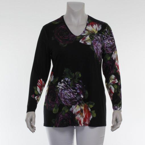 Doris Streich zwart shirt paars groene bloemenprint