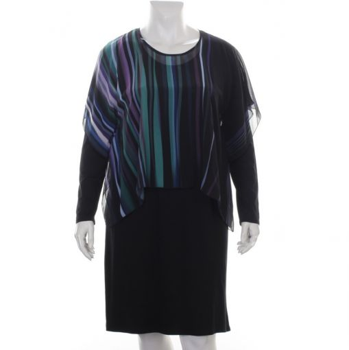 Doris Streich zwarte jurk met voile stof bovenaan