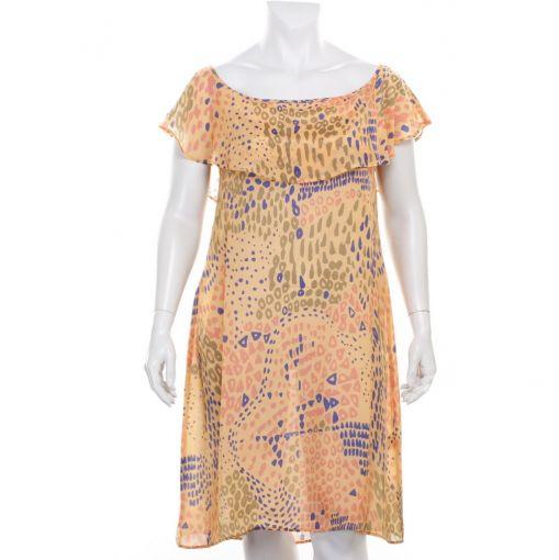 Dresskini jurk oranje met print