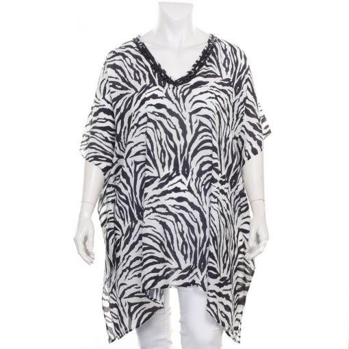 Dresskini kaftan met zebraprint