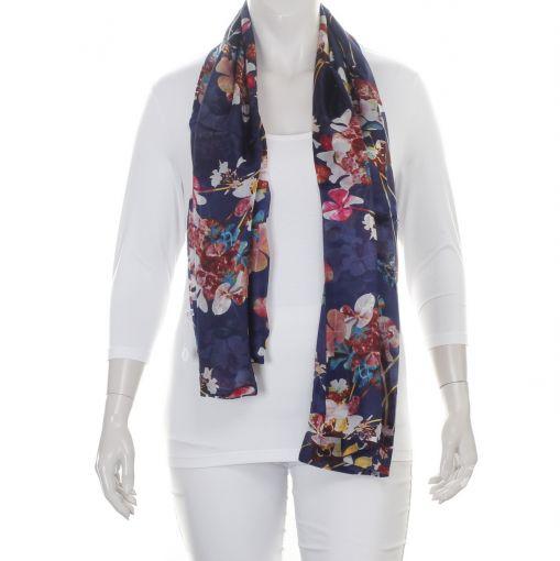 Dubbele zijden shawl blauw met kleurrijke bloemen