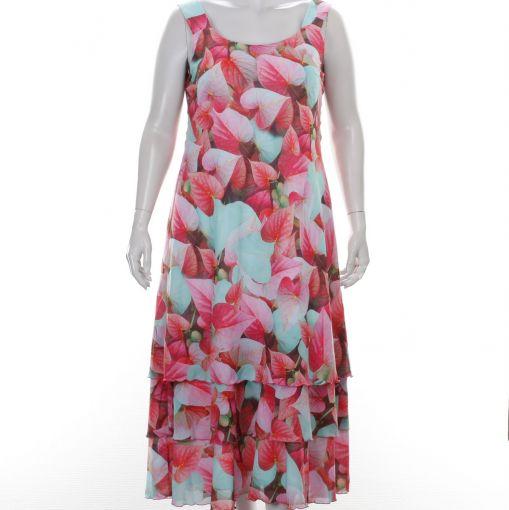 Georgedé jurk mingroen roze bladprint