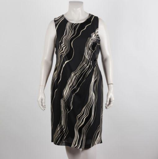Godske feestelijke jurk glanzend zwart en beige
