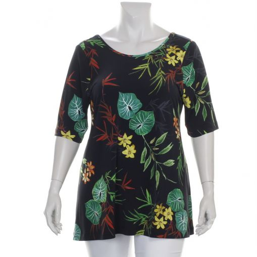 Yoek zwart A-lijn shirt met gekleurde bloemen en bladeren