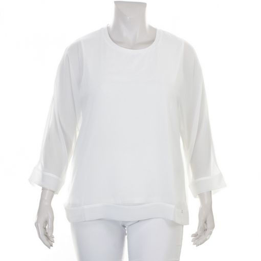 Frapp roomwitte blouse met voile stof