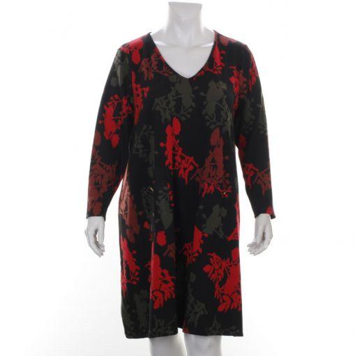 Yoek zwarte jurk met rood groene print en V-hals