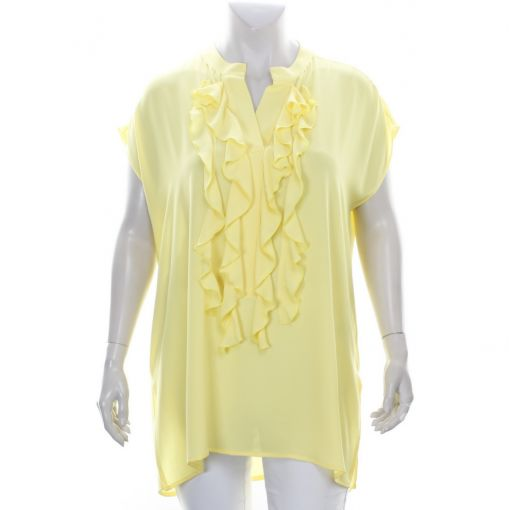 Only-M gele voile blouse met roezel
