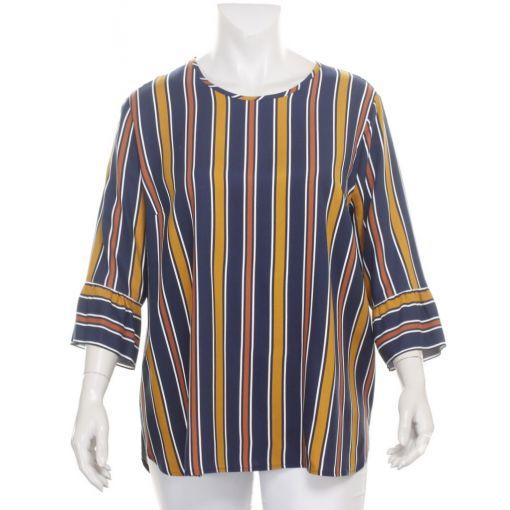 Maxima blouse blauw oker bruin gestreept