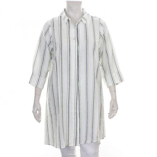 Studio witte blouse met groen blauwe streep