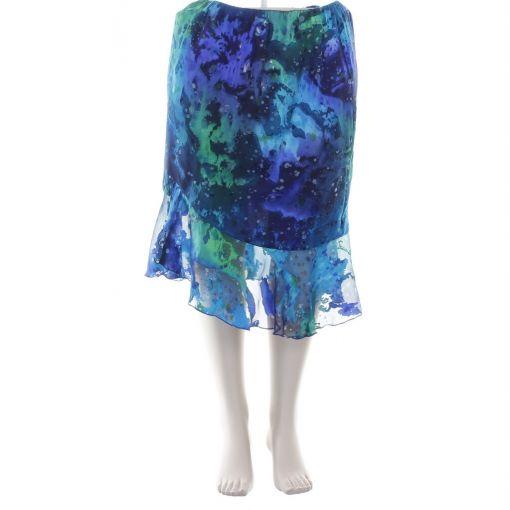 Godske glanzende voile rok blauw groen paarse print